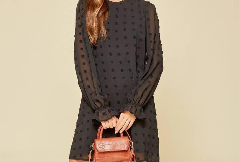 Swiss Dot Shift Dress - Black