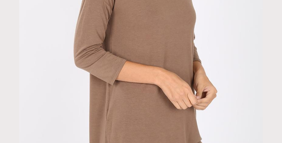Single Shoulder 3 Button Top (Mocha)