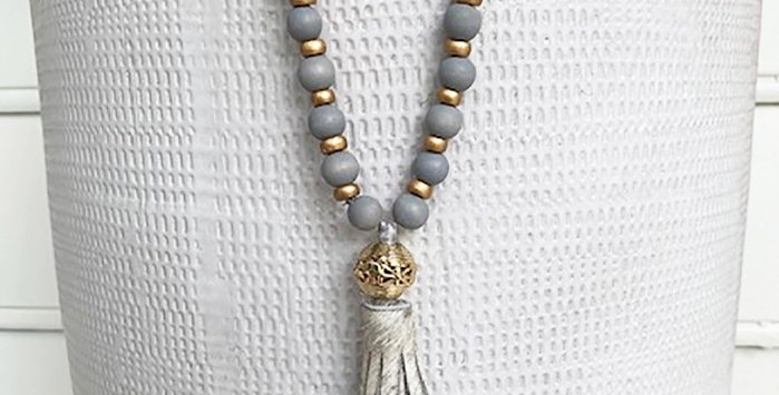 Hampton Gray Metallic Tassel Necklace
