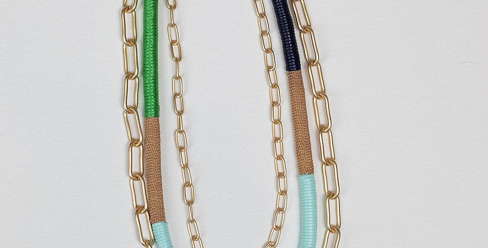 Arlo Necklace - Green/Aqua/Navy