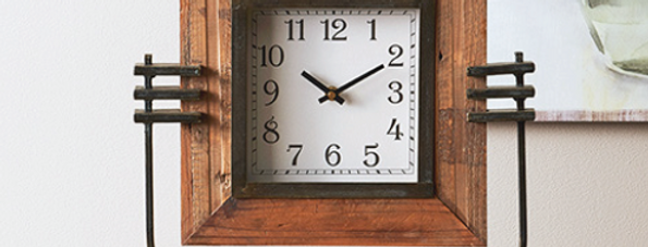 Wood Framed Clock On Stand
