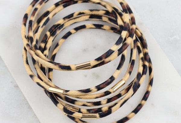 Leopard Print Bangle Bracelet Set
