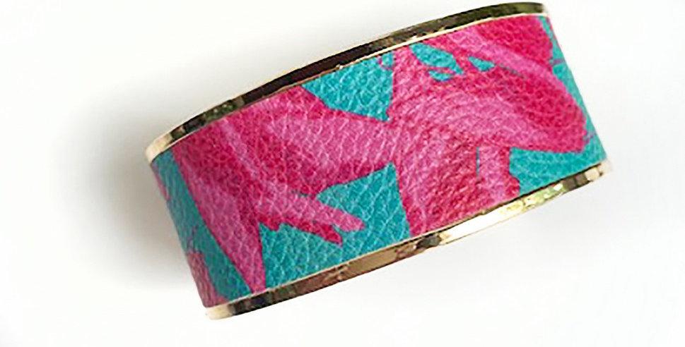 Monroe Cuff Bracelet (Pink Floral)