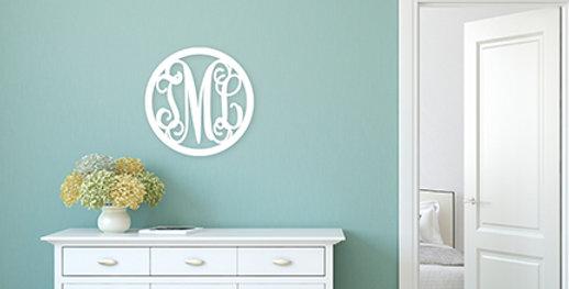 Circle 3-Initial Wood Monogram
