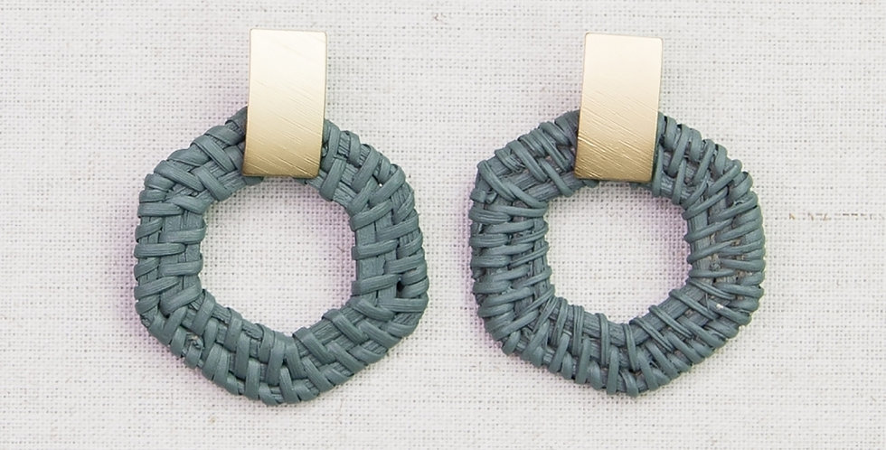 Rattan Geometric Earrings (Gray)