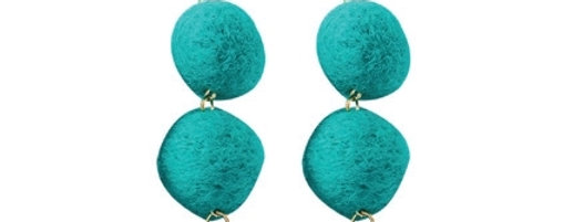 Pom Pom Delight Earrings (Teal)