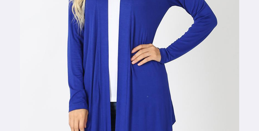 Drapey Long Sleeve Cardigan (Royal)
