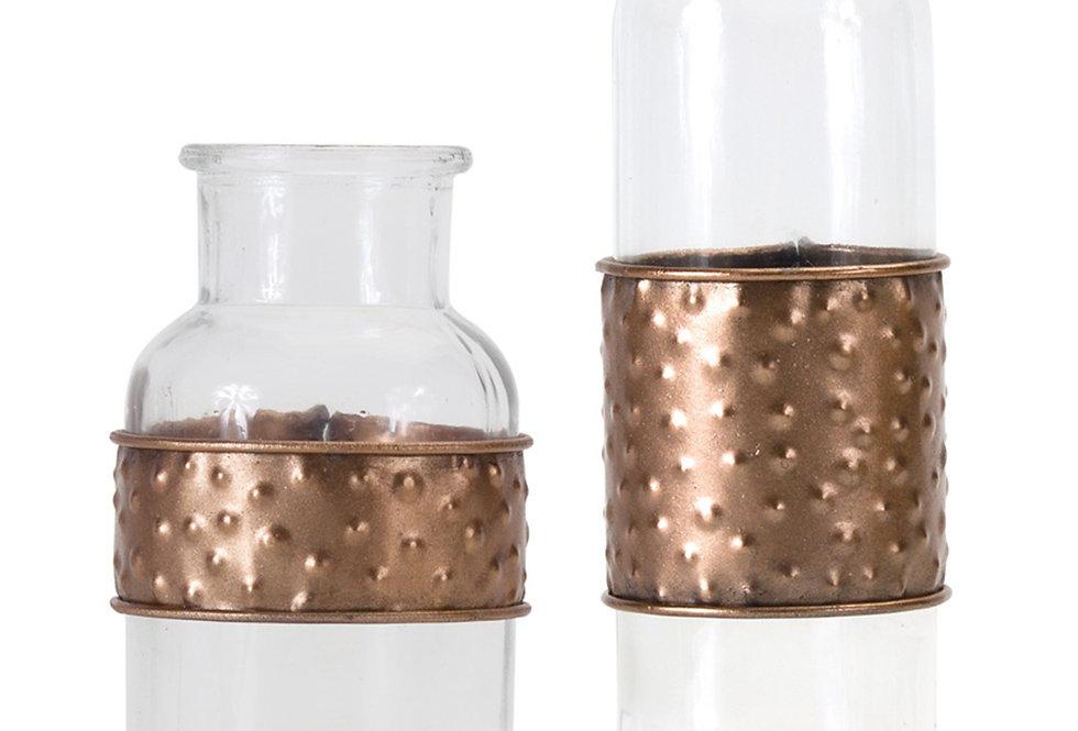 Decorative Glass/Metal Bottles (Set of 4)