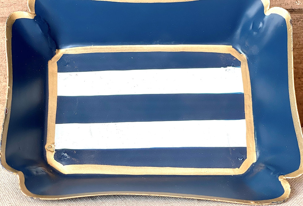 Navy Stripe Trinket Tray