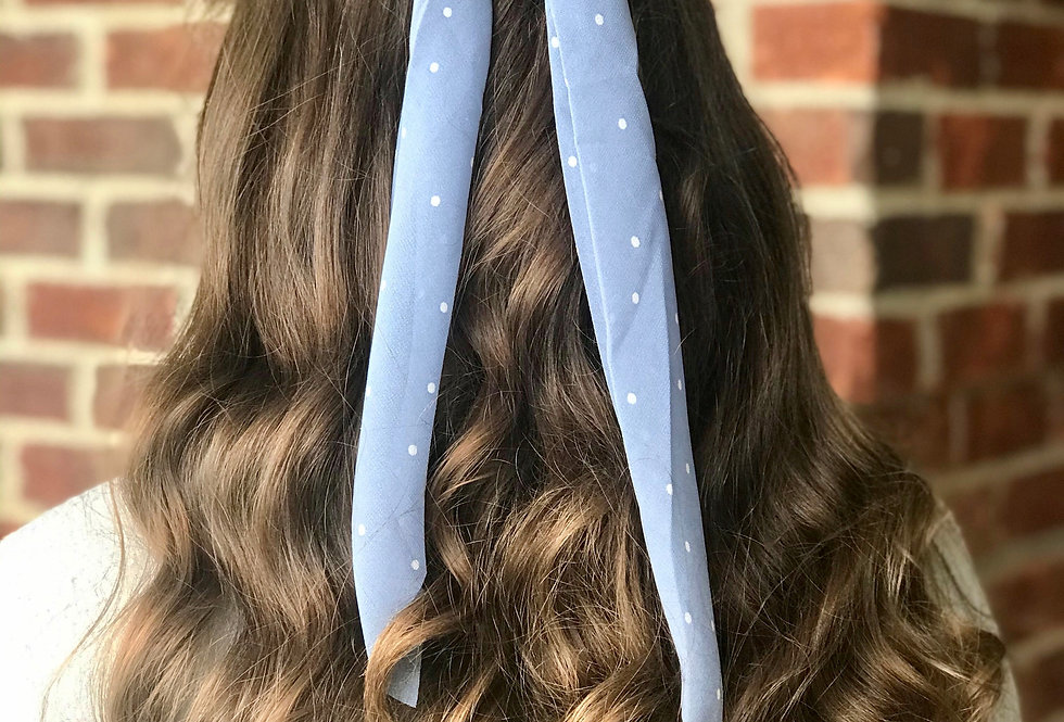 Polka Dot Hair Scarf (Blue)