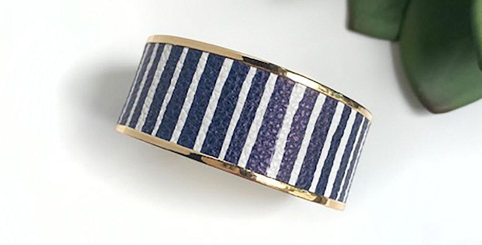 Monroe Cuff Bracelet (Navy Stripe)