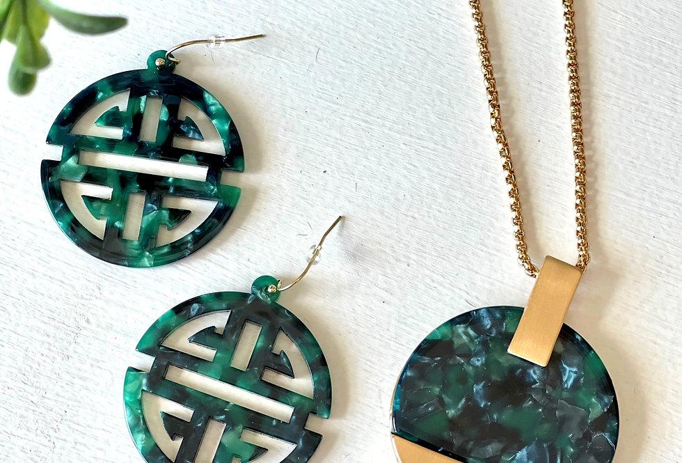 Emerald Necklace - Earrings Set