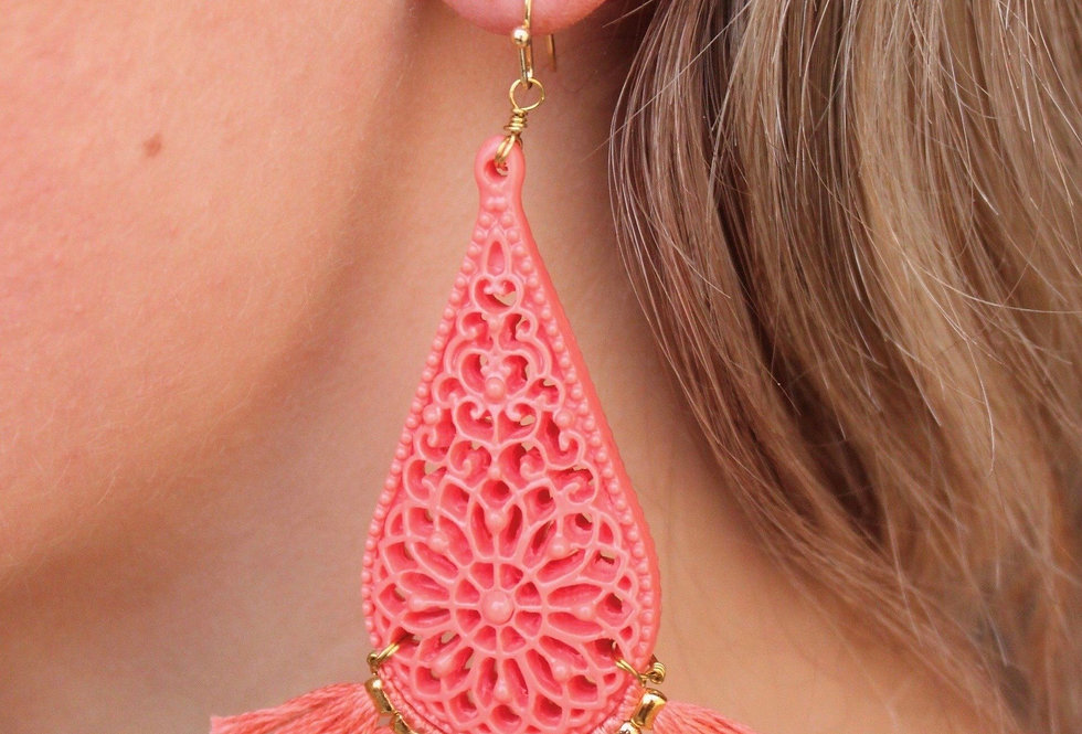 Resin Teardrop Tassel Earrings (Coral)