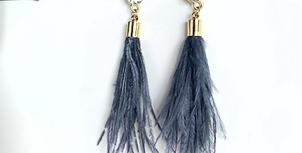 Feather Earrings (Gray)