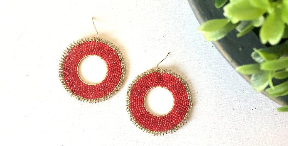 Celebration Bead Earrings (Red)