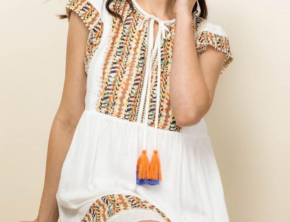 Flutter Sleeve Dress with Tassels