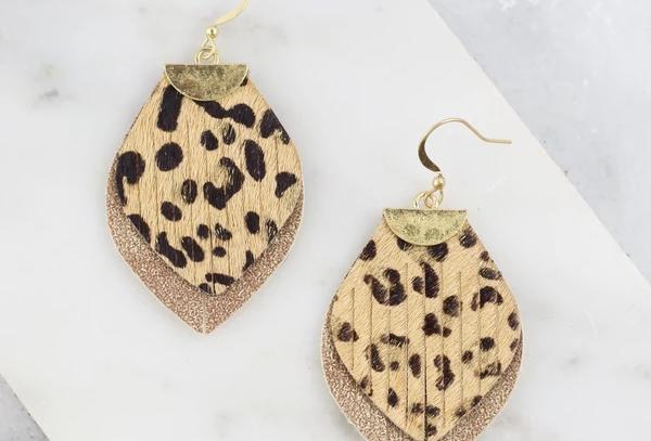 Animal Print Fringe Earrings