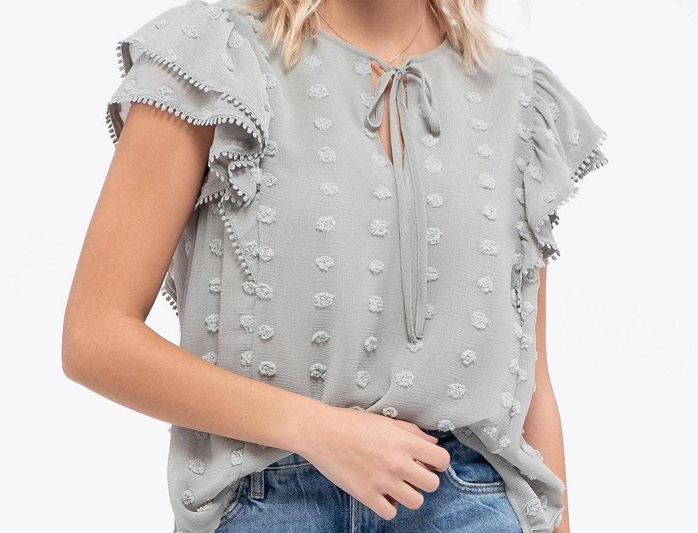 Embellished Flutter Sleeve Top