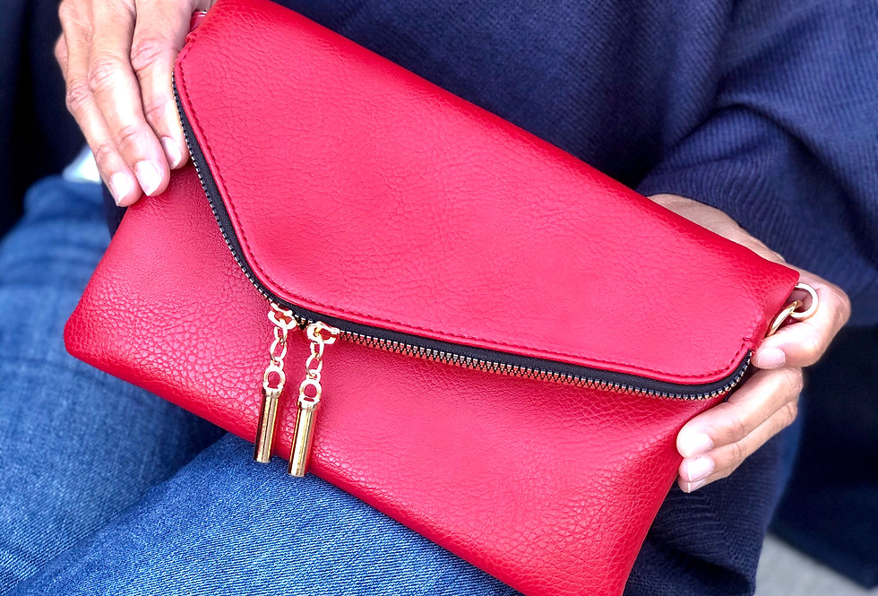 Envelope Clutch/Crossbody (Red)