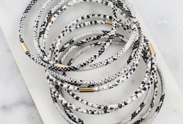 Snake Print Bangle Bracelet Set