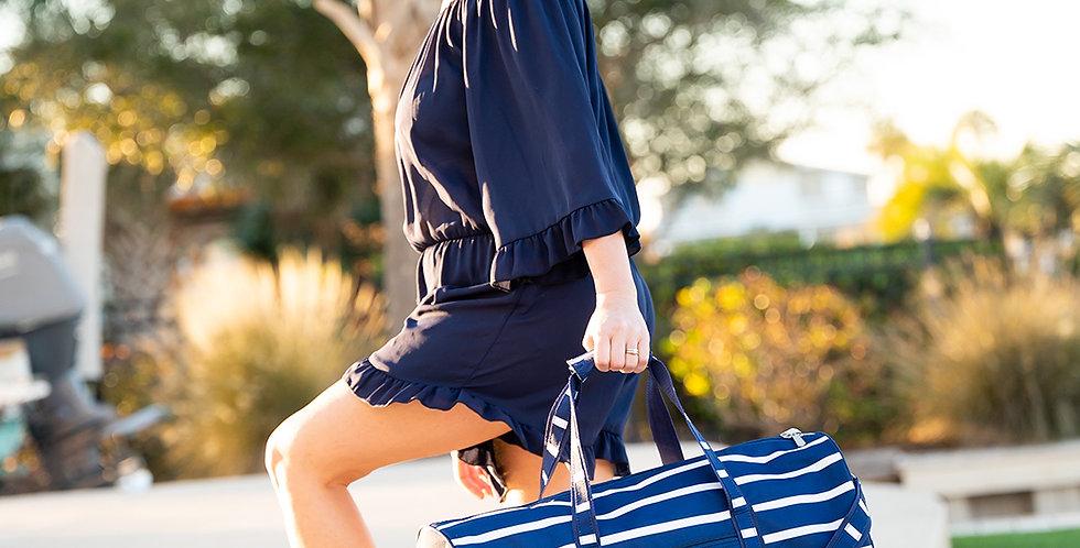 Navy Stripe Duffel Bag
