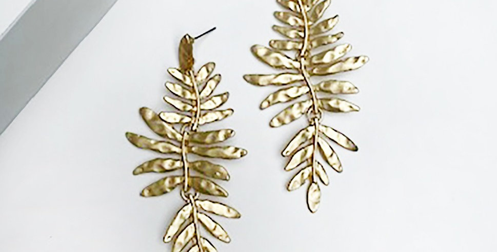 Marion Leaf Earrings (Gold)