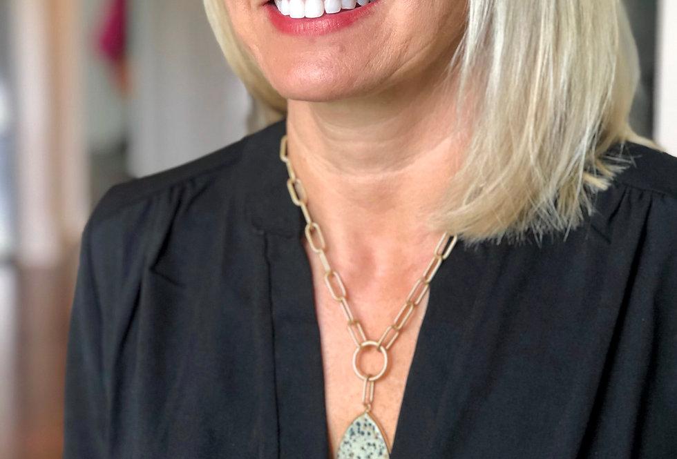 Matte Gold Chain and Dalmatian Stone Necklace