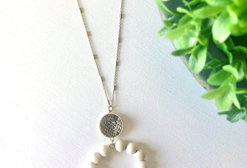 Natural Wood Hoop Necklace