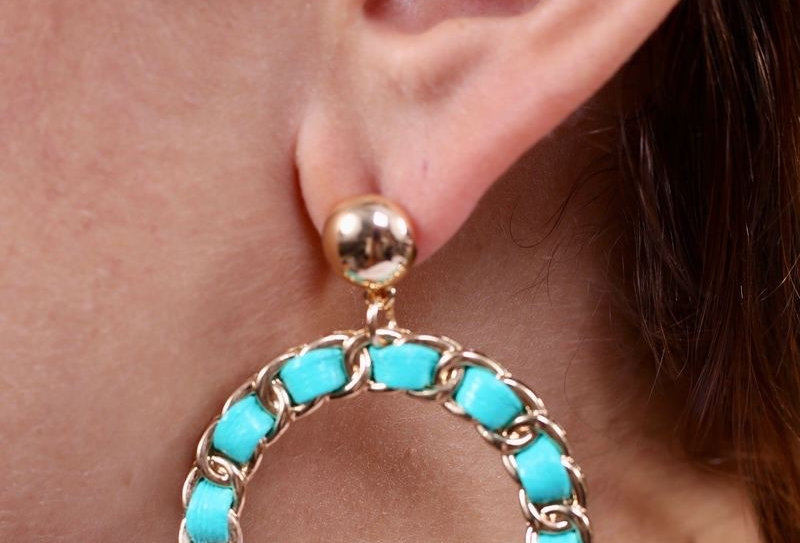 Turquoise Threaded Loops