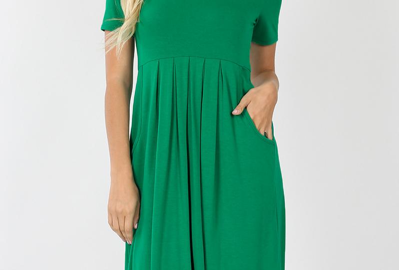 Pleated Waist Short Sleeve Dress (Kelly Green)