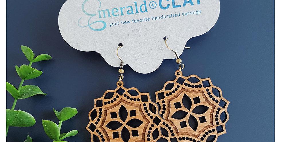 Mini Mandala Wood Earrings - Alder