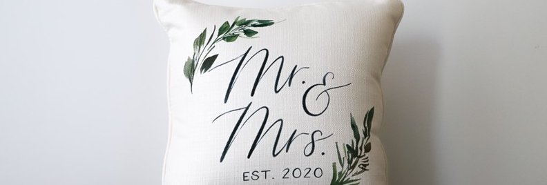 Mr. & Mrs Established Greenery Pillow