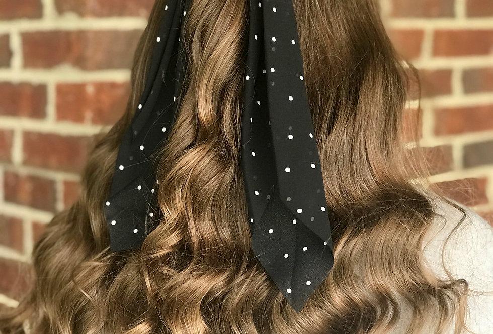 Polka Dot Hair Scarf (Black)