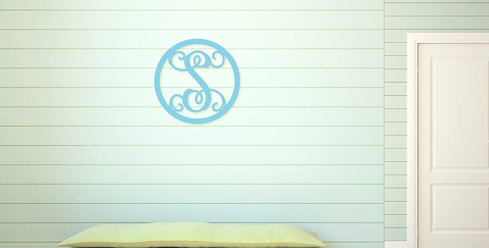 Circle Single Initial Wood Monogram