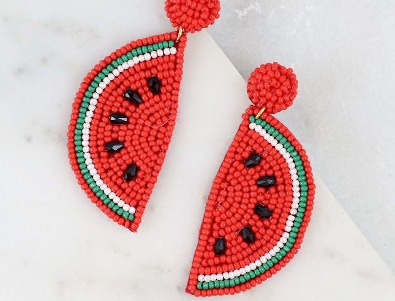 Watermelon Bead Post Earring