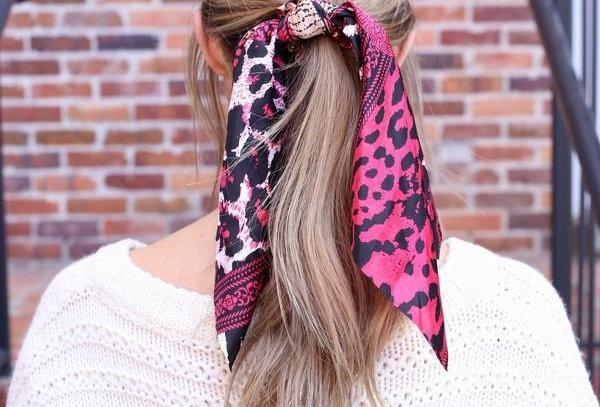 Hair Scarf - Hot Pink Animal Print