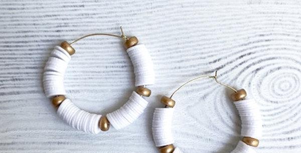 Victoria Hoop Earrings (White)
