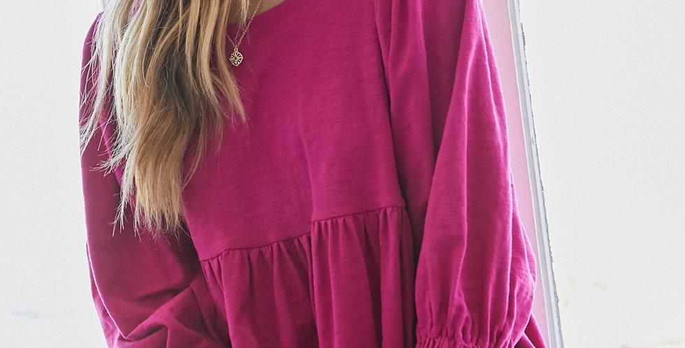Round Neck Mini Dress - Berry