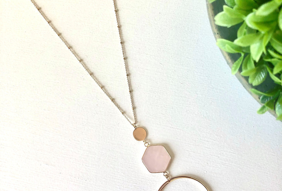 Gold Circle Pendant with Pink Hexagon Accent Necklace