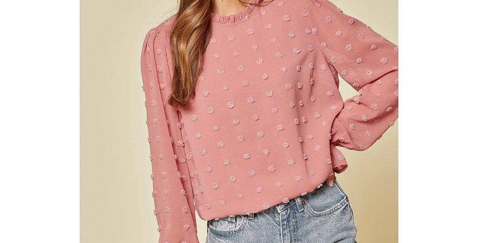 Embellished Long Sleeve Top - Blush