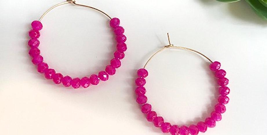 Shimmer Bead Hoop Earrings (Hot Pink)