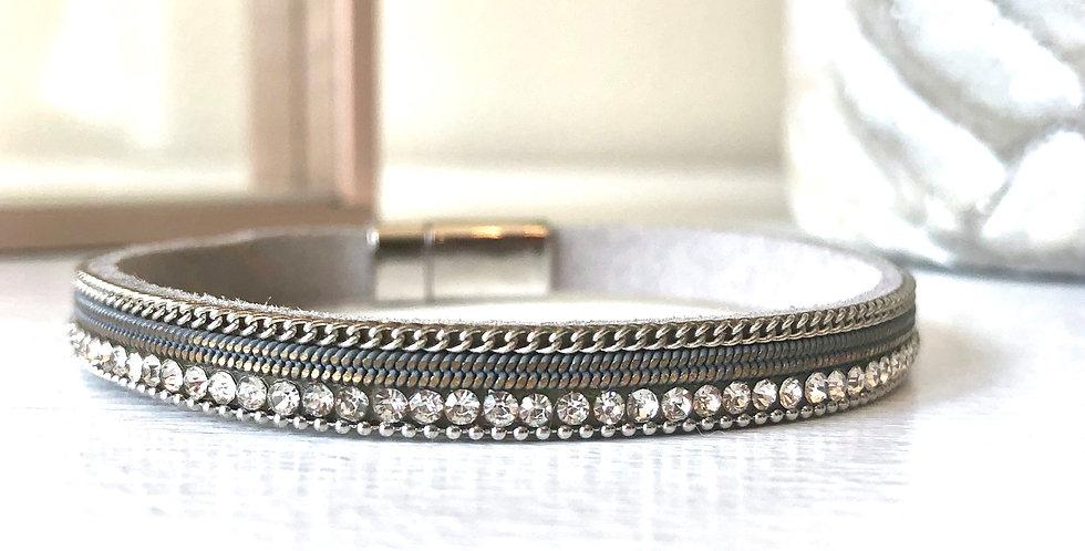 Thin Silver Rhinestone Bracelet