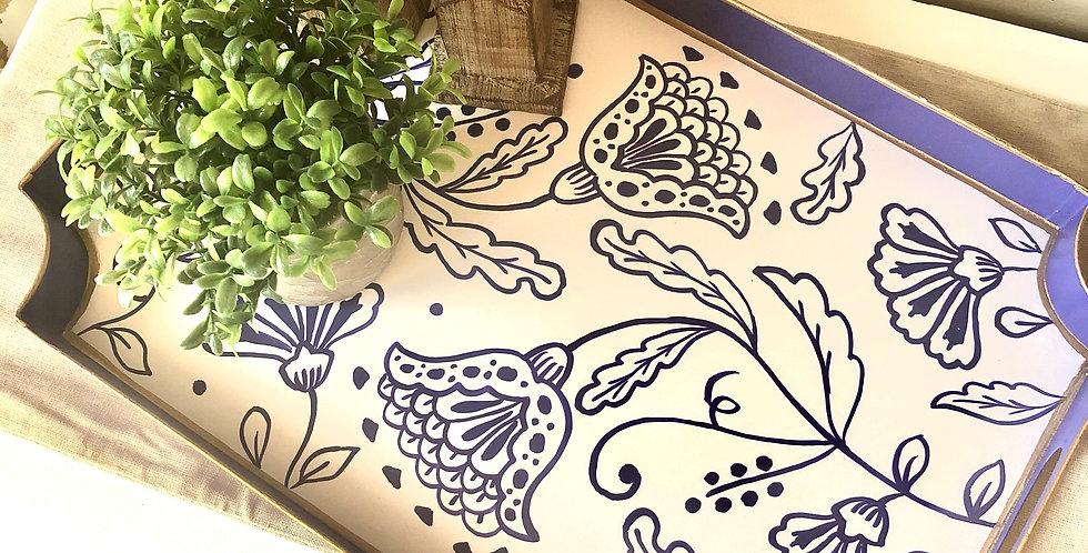 Floral Silhouette Jaye Tray (Royal)