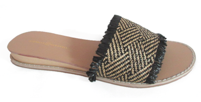 Finley Straw Sandal - Black