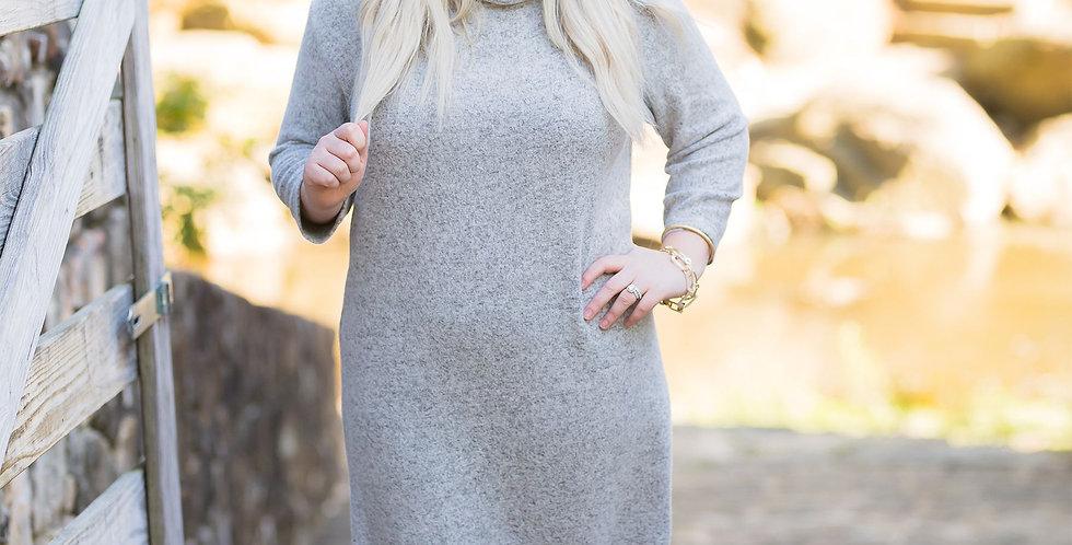 Cowl Neck Dress (Gray)