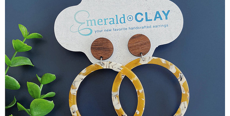 Acrylic Hoop Earrings - Dijon