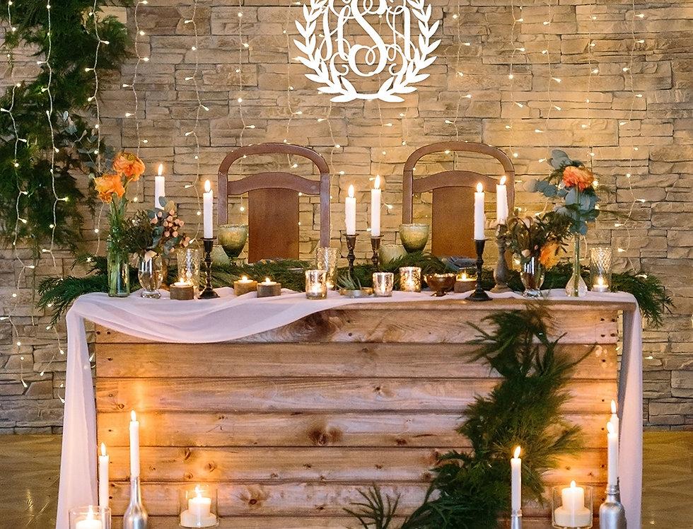 Wreath 3-Initial Wood Monogram