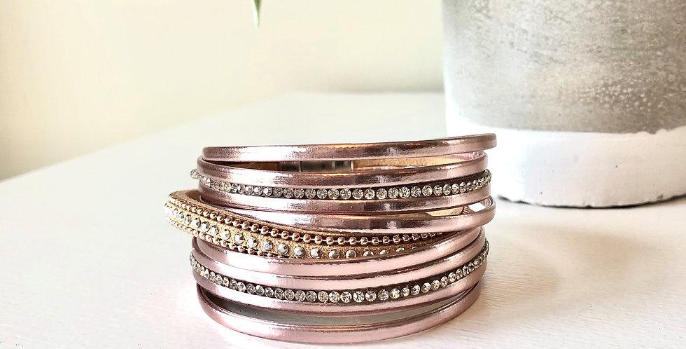 Multi Strand Clasp Bracelet (Rose Gold)