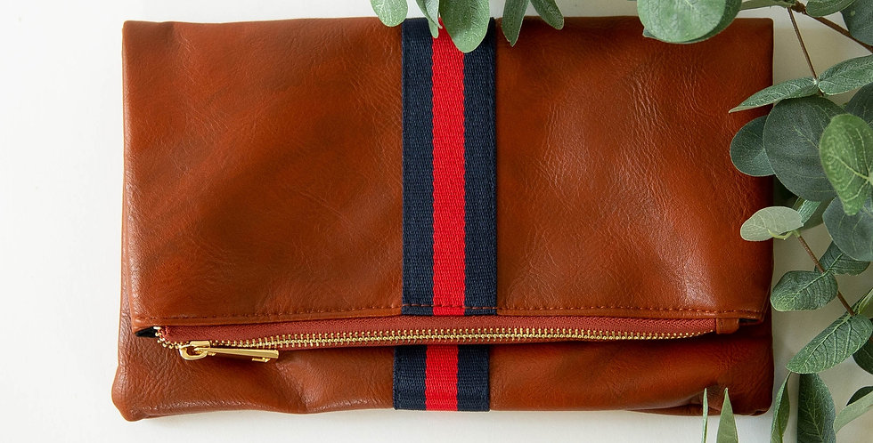 Preppy Stripe Foldover Clutch - Navy & Red Stripe