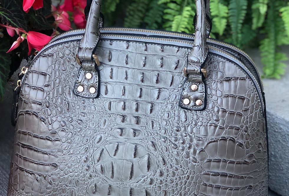 Ostrich-Croc Vegan Leather Tote (Khaki)